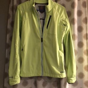 Lime green jacket.